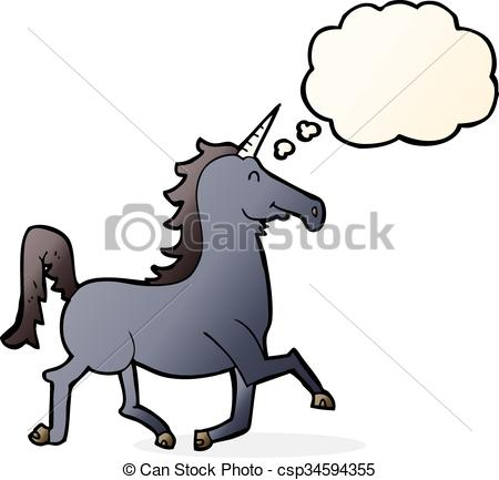 450x433 Cartoon Unicorn With Thought Bubble Clipart Vector