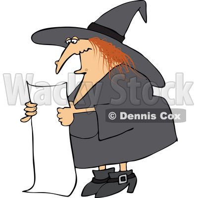 400x400 Clipart Of A Cartoon Red Haired Chubby Witch Reading A Long List