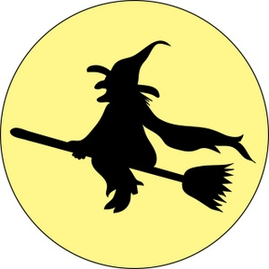 300x300 Halloween Witch On Broom Clip Art 492737