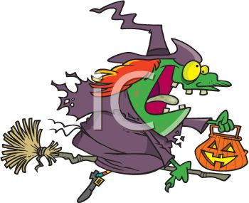 350x285 Picture Of A Cartoon Witch On Her Broom Holding A Pumpkin Bucket