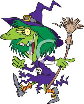 281x350 Picture Of A Cartoon Witch Walking With Her Broom In A Vector Clip