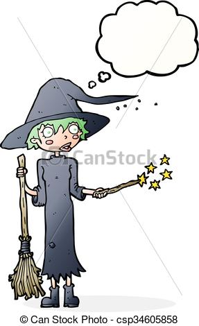 287x470 Cartoon Witch Casting Spell With Thought Bubble Clipart Vector