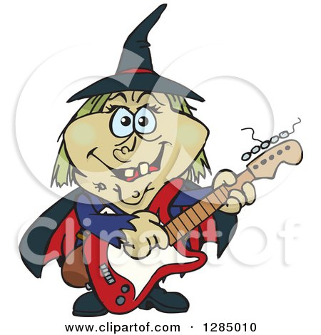 450x470 Clipart Of A Cartoon Happy Witch Playing An Acoustic Guitar