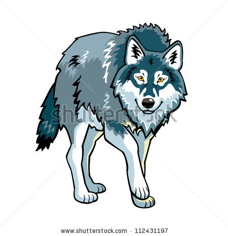450x467 Picture Of A Wolf Walking In A Vector Clip Art Illustration