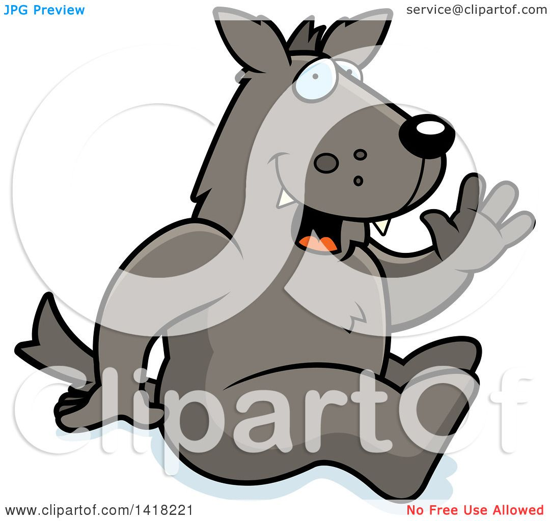 1080x1024 Cartoon Clipart Of A Happy Wolf Sitting And Waving