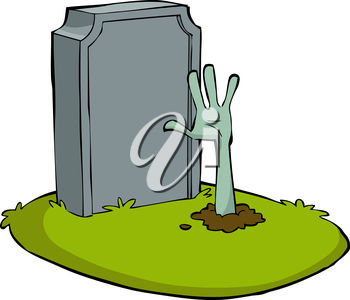 350x300 Clip Art Illustration Of A Zombie Hand Coming Out Of A Grave