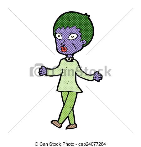 450x470 Comic Cartoon Halloween Zombie Woman. Retro Comic Book Style