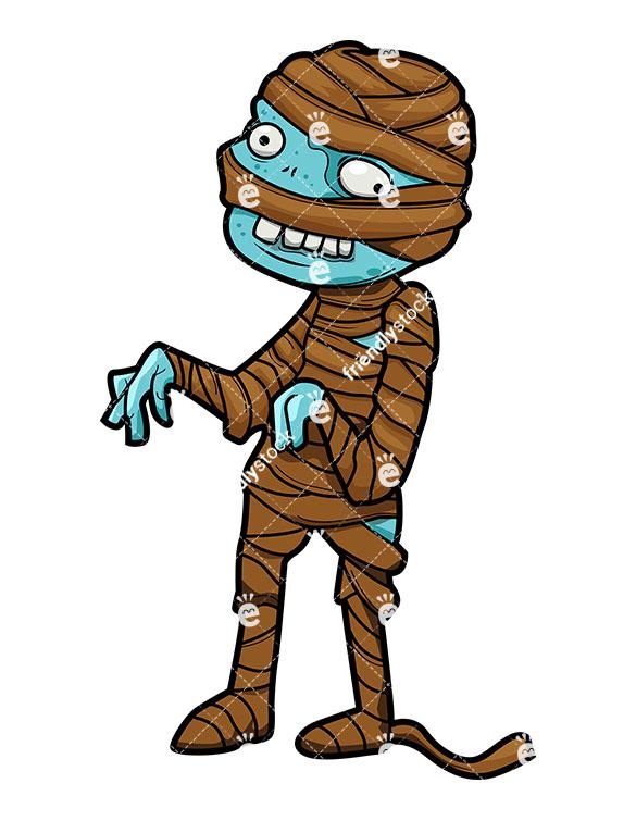585x755 Funny Mummy Zombie Vector Cartoon Clipart