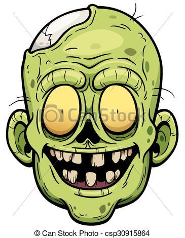 365x470 Illustration Of Cartoon Zombie Face Clip Art Vector