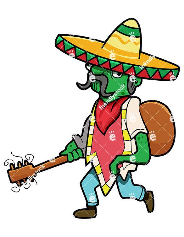 585x755 Mexican Zombie With Guitar And Sombrero Vector Cartoon Clipart
