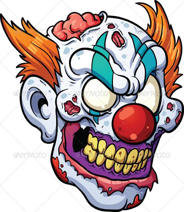 590x680 Zombie Clown Head By Memoangeles Graphicriver