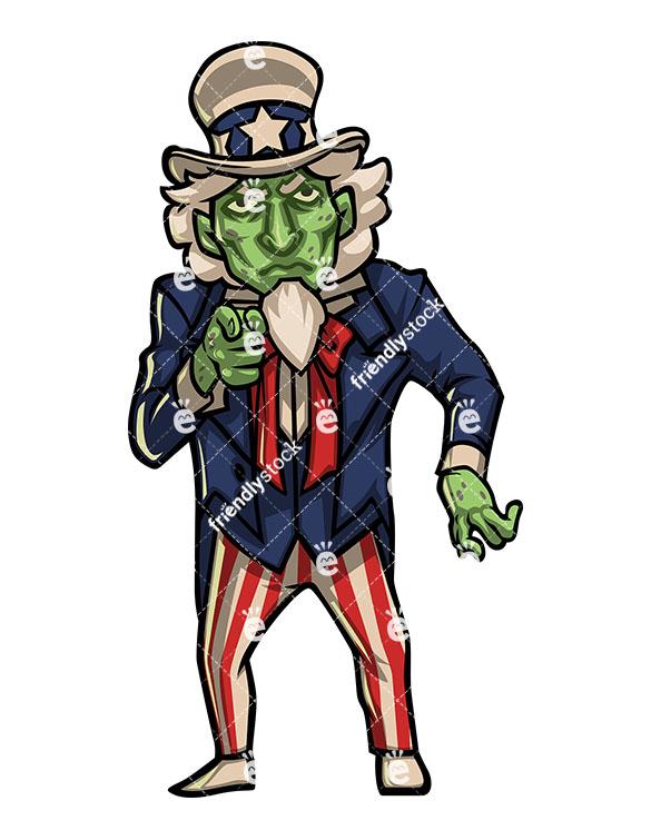 585x755 Zombie Uncle Sam Vector Cartoon Clipart