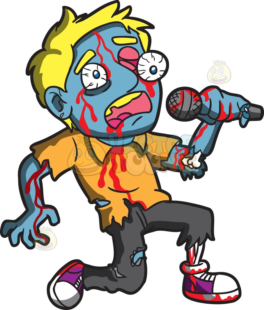 873x1024 A Singing Zombie Cartoon Clipart Vector Toons