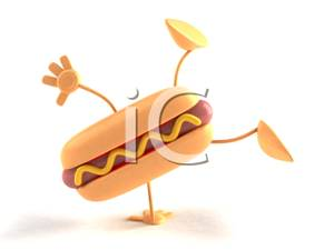 300x225 Clip Art Image 3d Hot Dog With Mustard Doing Cartwheels