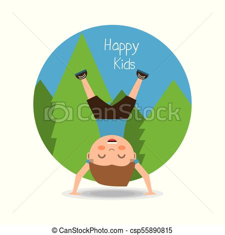 450x470 Happy Kids Design. Cartoon Happy Kid Doing A Cartwheel Icon