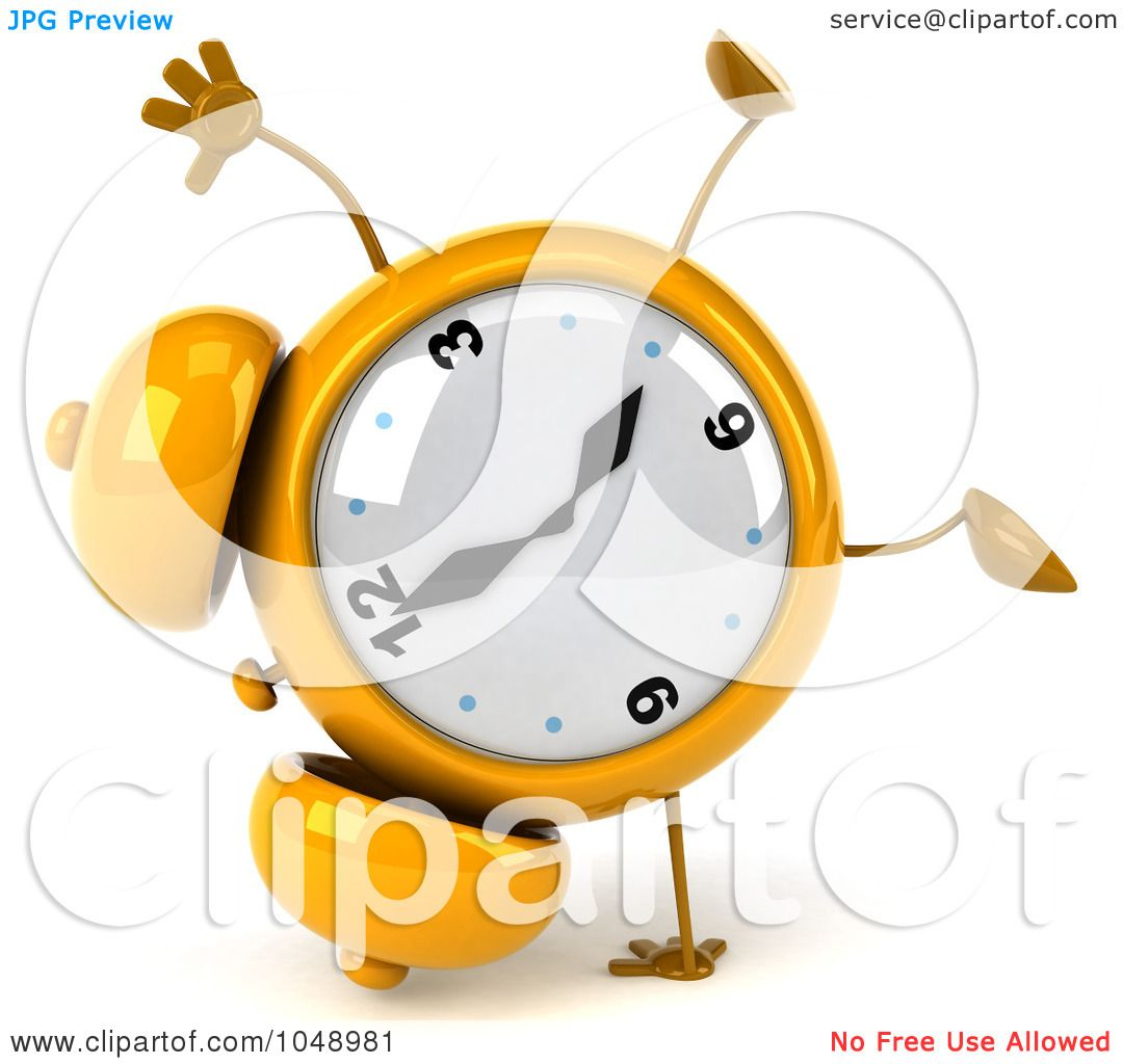 1080x1024 Royalty Free (Rf) Clip Art Illustration Of A 3d Yellow Alarm Clock
