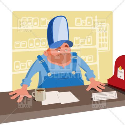 400x400 Sullen Cashier Stands Behind The Desk Royalty Free Vector Clip Art