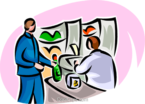 480x345 Man Buying Food Items With Cashier Royalty Free Vector Clip Art