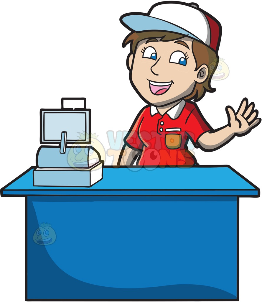 889x1024 A Jolly Female Fast Food Cashier Worker Cartoon Clipart Vector Toons