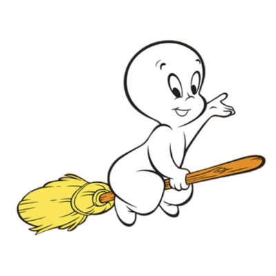400x400 Casper Flying On A Broom Transparent Png