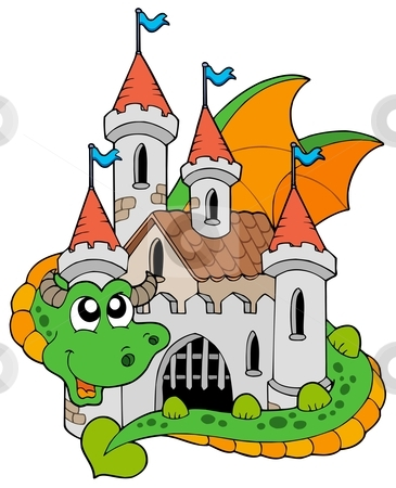 365x450 Dragon With Old Castle Stock Vector