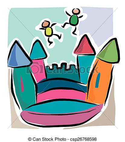 414x470 Jumping Castle Clipart Cartoon Bouncy Castle Drawing Csp26768598