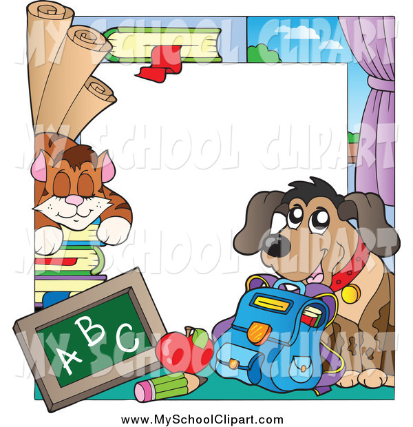 600x620 Clip Art Of A Cat And Dog School Border By Visekart