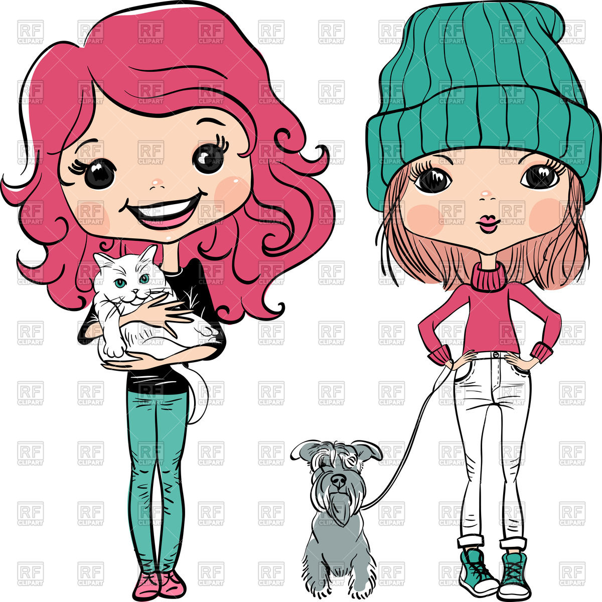 1200x1200 Cute Girls With Dog And Cat Royalty Free Vector Clip Art Image