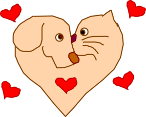 299x240 Dog And Cat Heart Clip Art