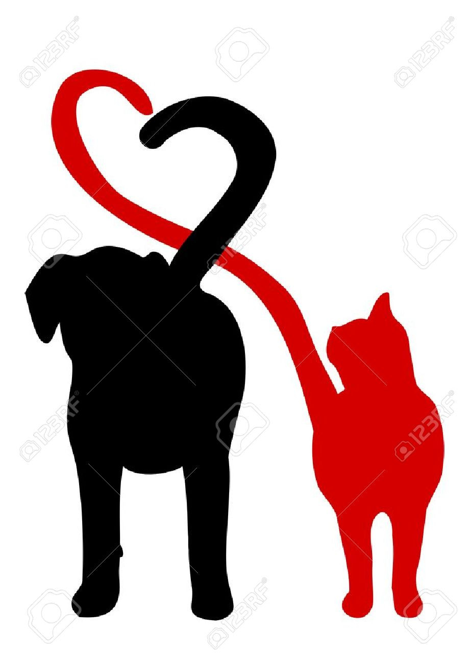 919x1300 Dog And Cat Silhouette Clip Art Free At Getdrawings Com