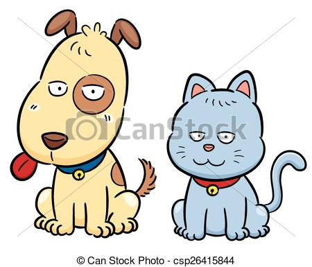 450x385 Vector Illustration Of Cartoon Cat And Dog Eps Vector