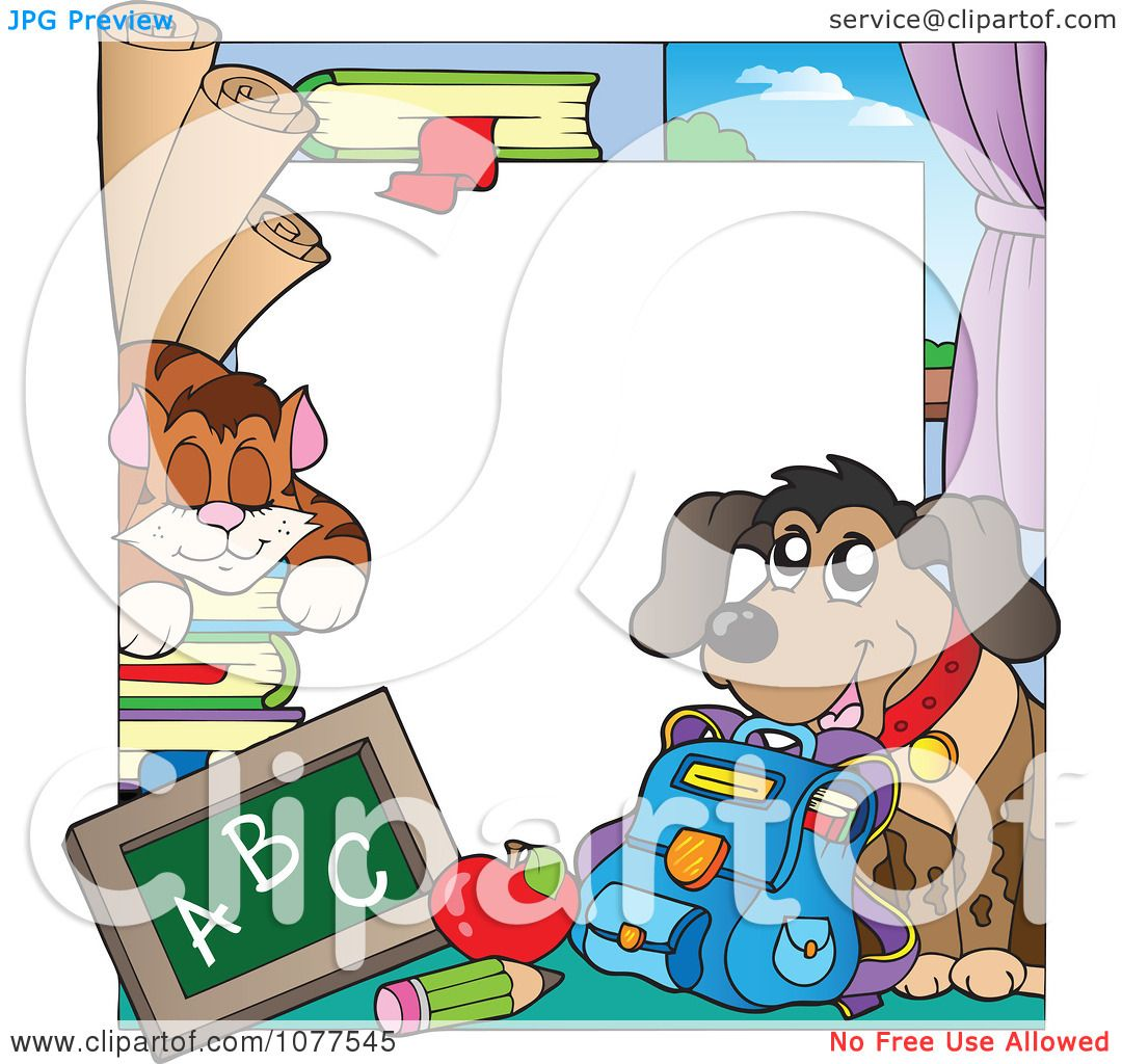 1080x1024 Clipart Cat And Dog School Frame