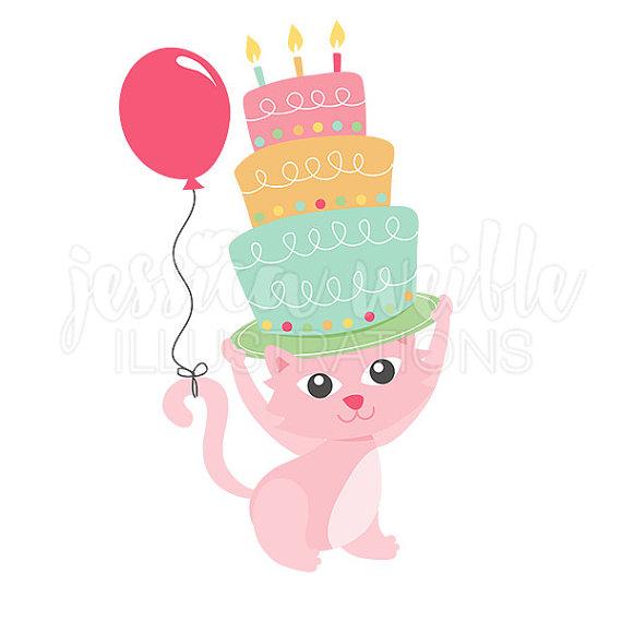 570x570 Happy Birthday Kitty Clip Art Cute Digital Clipart Kitten