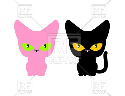 400x308 Pink And Black Cat Royalty Free Vector Clip Art Image