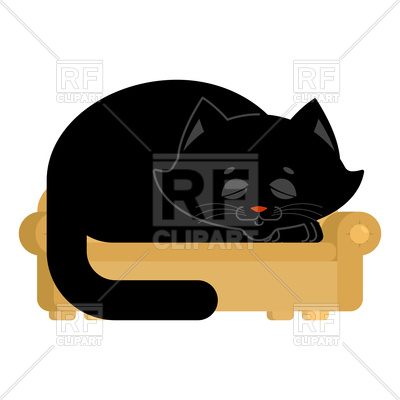 400x400 Big Cat On Couch Asleep Royalty Free Vector Clip Art Image
