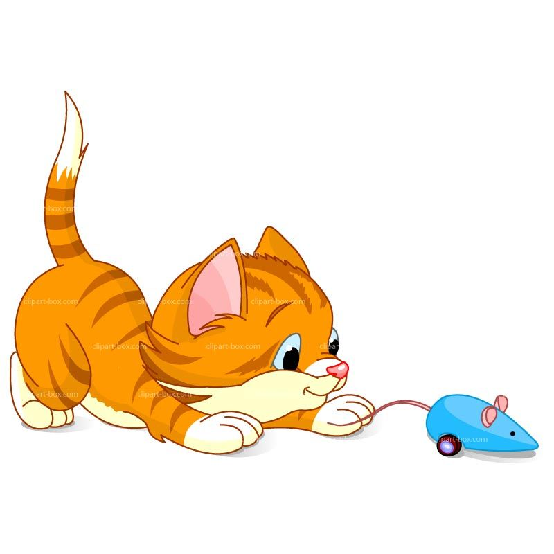 800x800 Clipart Kitten Playing With Mouse Royalty Free Vector Design