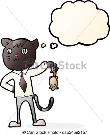 386x470 Cartoon Business Cat With Dead Mouse With Thought Bubble Clipart