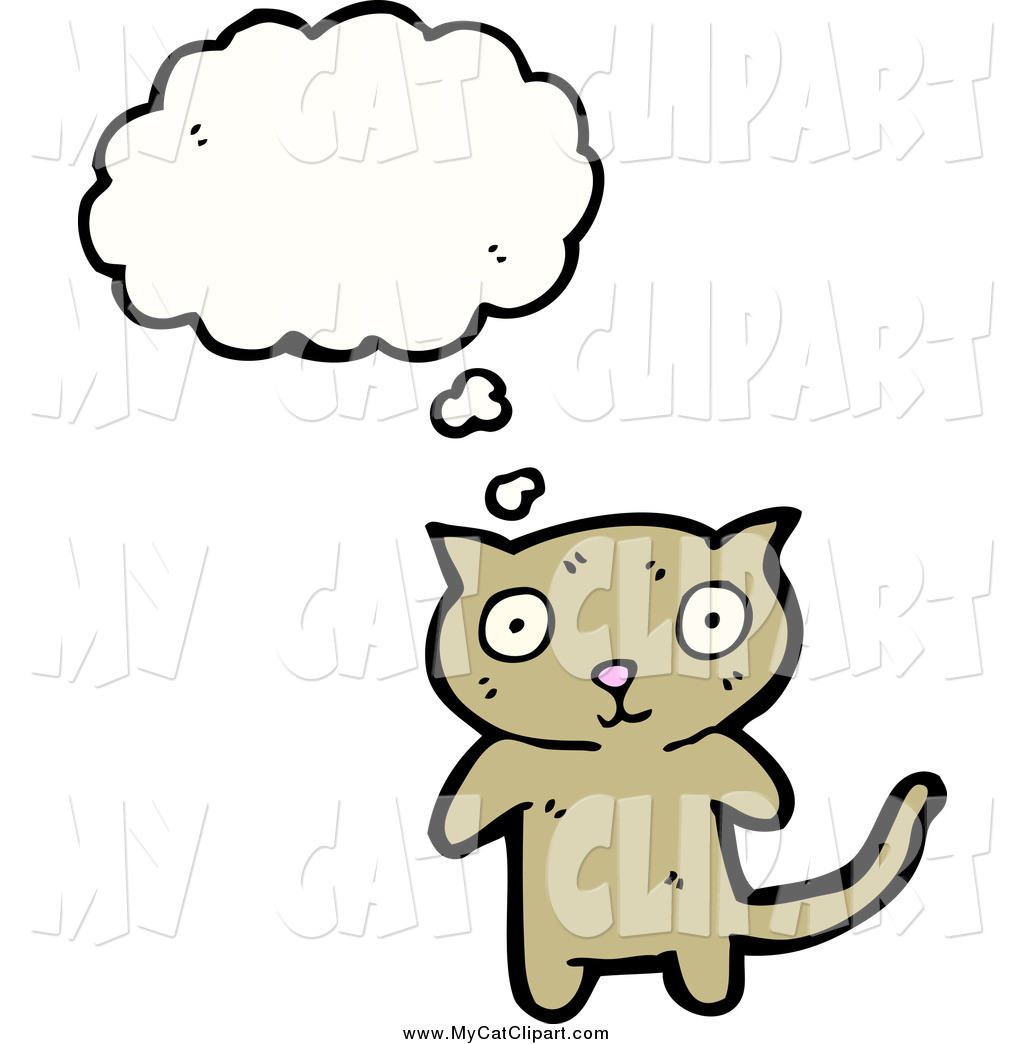 1024x1044 Clip Art Of A Thinking Confused Brown Cat By Lineartestpilot