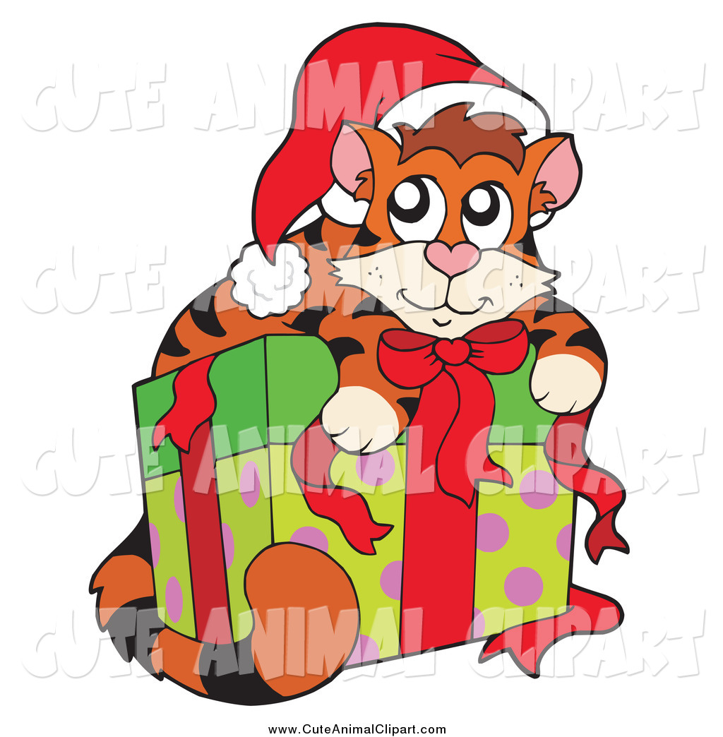 1024x1044 Vector Clip Art Of A Cute Christmas Cat Resting On A Present By