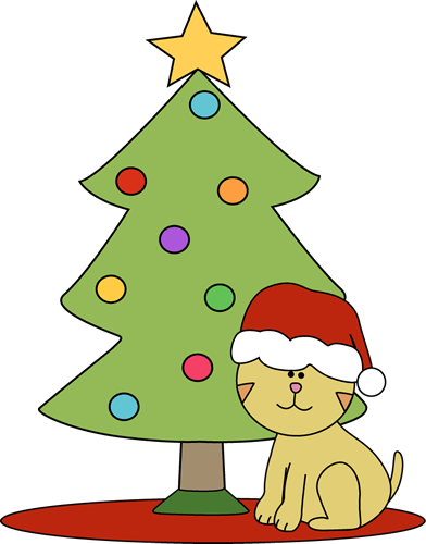 392x500 Christmas Cat Clipart Cat Sitting In Front Of Christmas Tree