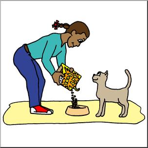 304x304 Clip Art Kids Chores Feeding The Cat Color I