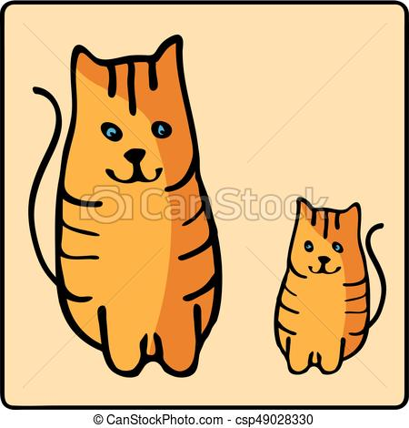 450x470 Cute Orange Red Headed Cat. Kids Illustration With Domestic