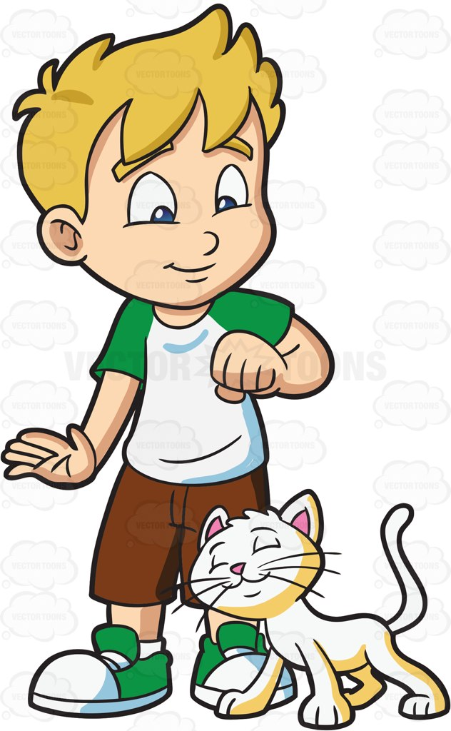 632x1024 A Boy Who Is Being Adored By His Pet Cat Cartoon Clipart Vector