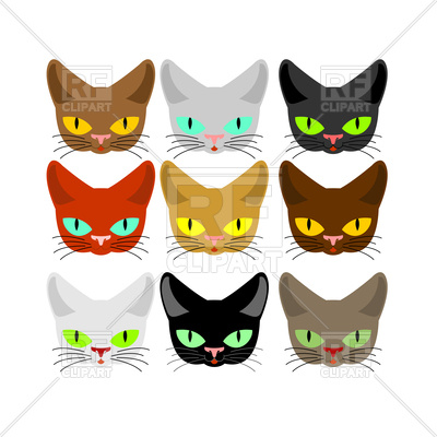 400x400 Cat Face Set Royalty Free Vector Clip Art Image