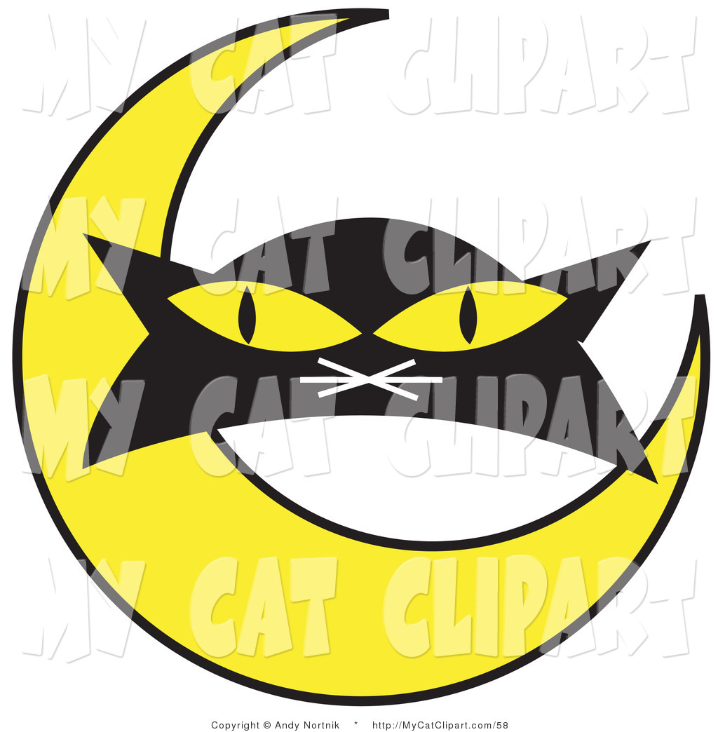 1024x1044 Clip Art of a Black Cat#39s Face with a Yellow Crescent Moon on