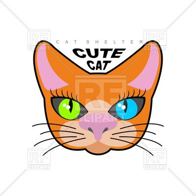 400x400 Cute Cat Face Royalty Free Vector Clip Art Image