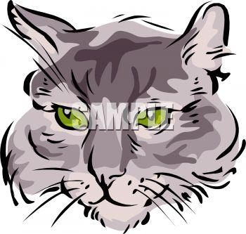 350x333 Picture of a Closeup a Cat#39s Face In a Vector Clip Art