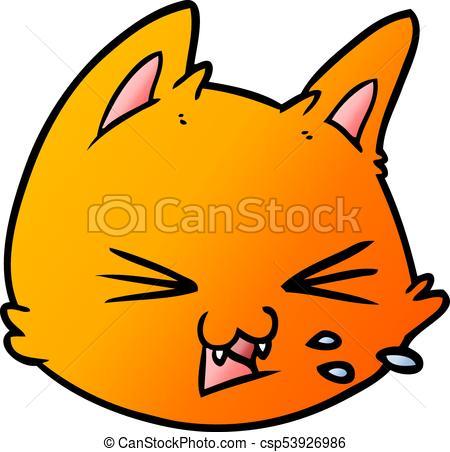 450x452 Spitting Cartoon Cat Face Vector