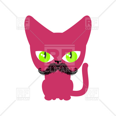 400x400 Cat Hipster With Mustache Royalty Free Vector Clip Art Image