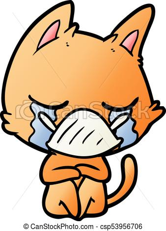 338x470 Crying Cartoon Cat Sitting Vector Clipart